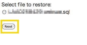 データベースを選択しnextをクリック