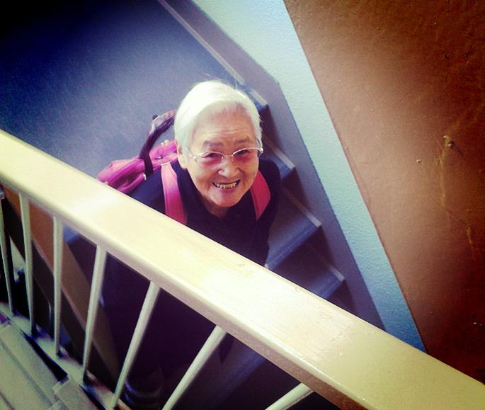 温泉へいくばあちゃんの笑顔