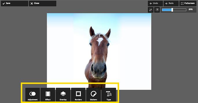 馬の画像デフォルトを開いたところ