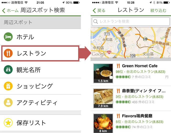 トリップアドバイザーで近くのレストランを検索