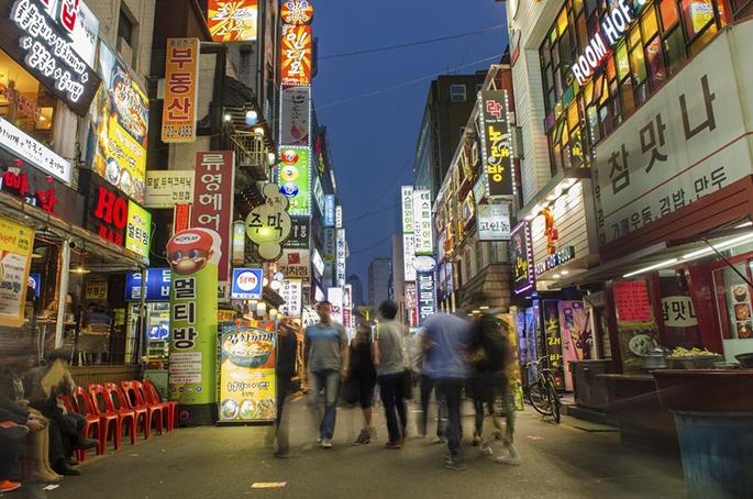 韓国ソウルのレストラン街