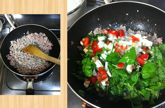 ひき肉を炒めて野菜を投入