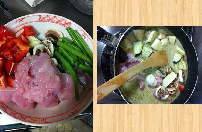 チキンと野菜を投入
