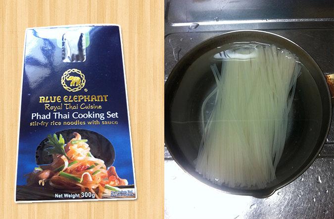 パッタイ、麺を水に浸す