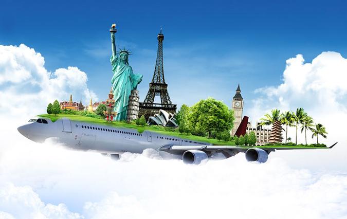 飛行機で世界中を旅行