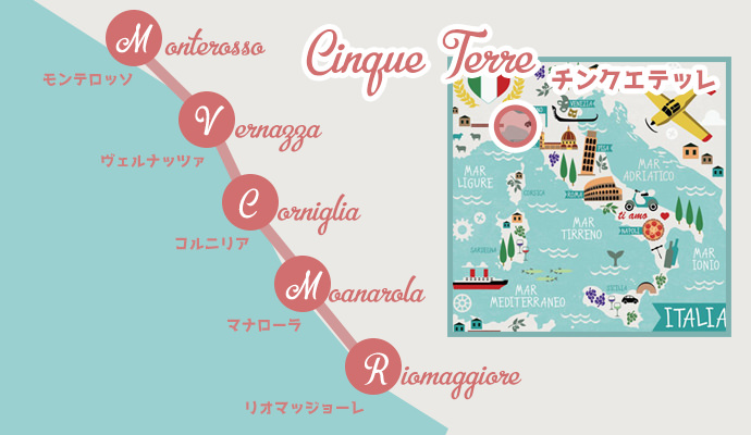 チンクエテッレの地図