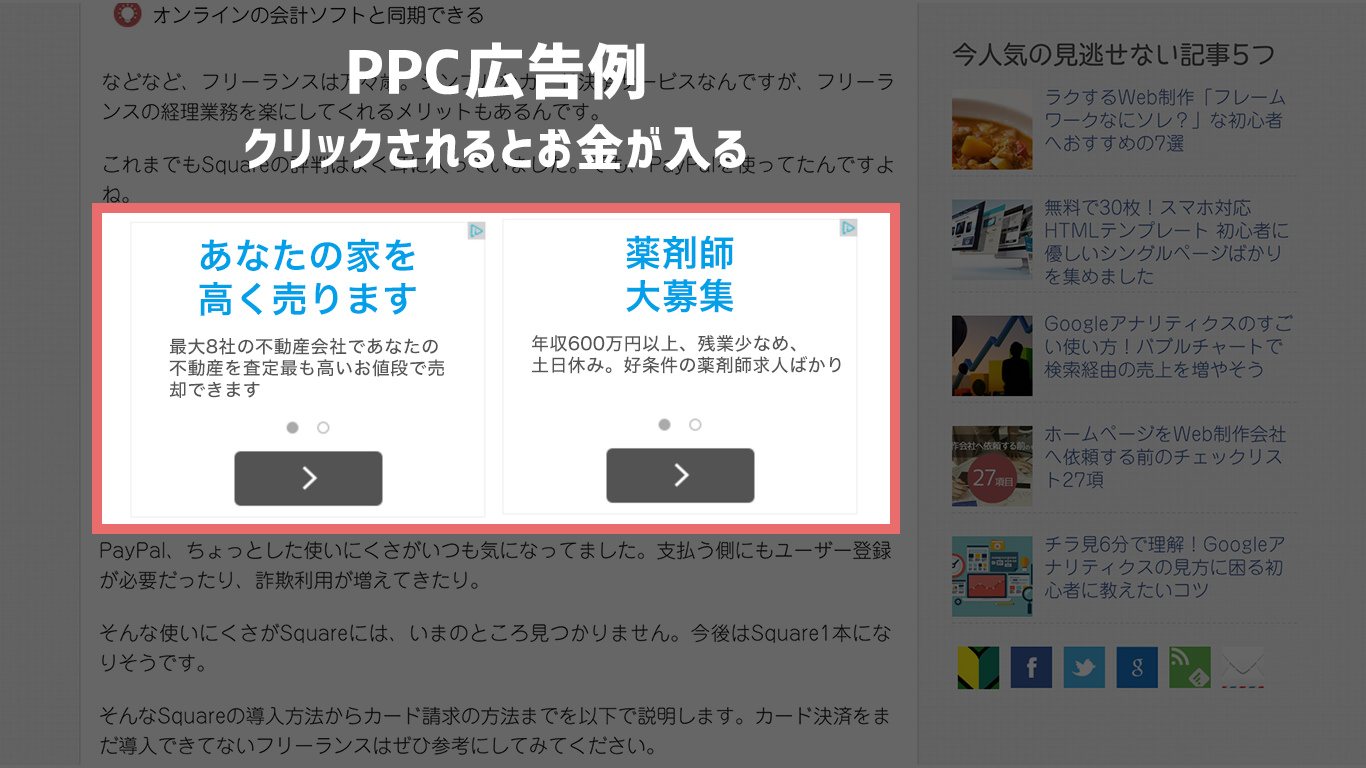 PPC広告例 クリックされるとお金が入る