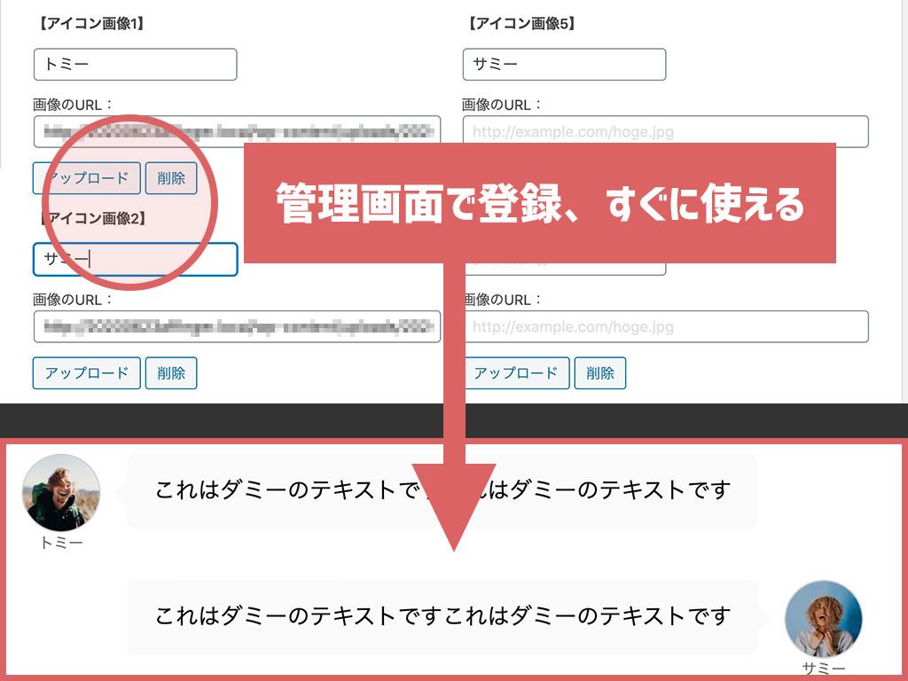 管理画面で登録、すぐに使える